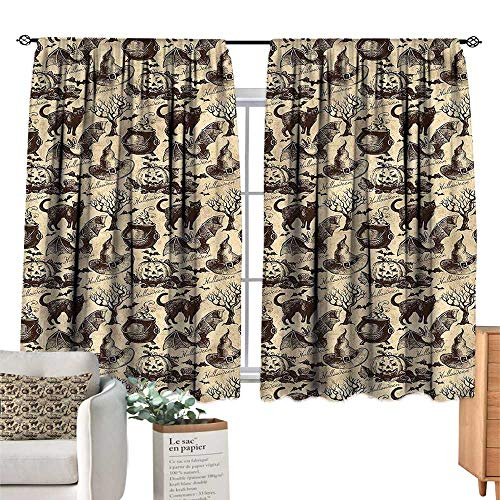 (Mannwarehouse Bedroom Windproof Curtain Vintage Halloween Black Cat Motif W55 xL45 Suitable for)