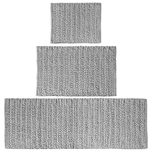 mDesign 100% Cotton Luxury Rectangular Spa Mat Rugs, Plush Water Absorbent - for Bathroom Vanity, Bathtub/Shower, Machine Washable - Braided Design - Runner, Standard & Small Rug, Set of 3 - Gray