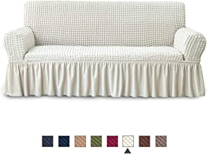 NICEEC Sofa Slipcover Ivory Sofa Cover 1 Piece Easy Fitted Sofa Couch Cover Universal High Stretchable Durable Furniture Protector with Skirt Country Style (3 Seater Ivory)