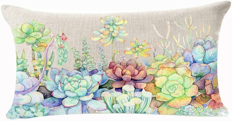 Fresh and Colorful Hand-Painted Potted Plants Succulents Cotton Linen Throw Waist Lumbar Pillow Case Cushion Cover Home Office Decorative Rectangle 12 X 20 Inches