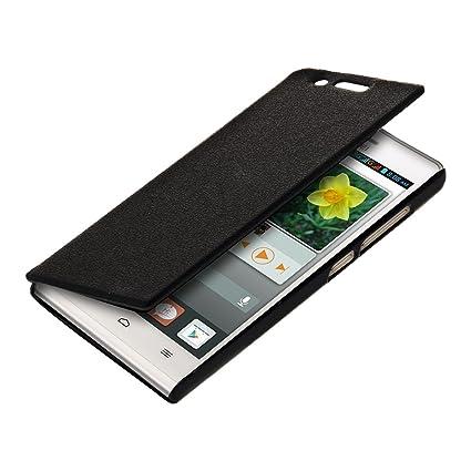 kwmobile Funda para Huawei Ascend P7 Mini - Carcasa con [Tapa Tipo Libro] para móvil - Case Protector en [Negro]