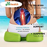 Grinhealth Coccyx Seat Cushion With Memory Foam For Sciatica, Tailbone & Back Pain Relief -Green