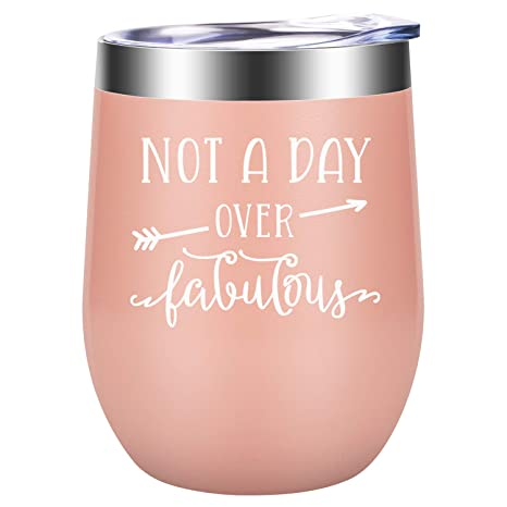Not A Day Over Fabulous Funny Christmas Gifts Birthday Gifts For Women Wine Gift Ideas For Her Wife Mom Daughter Sister Aunt Bff Best