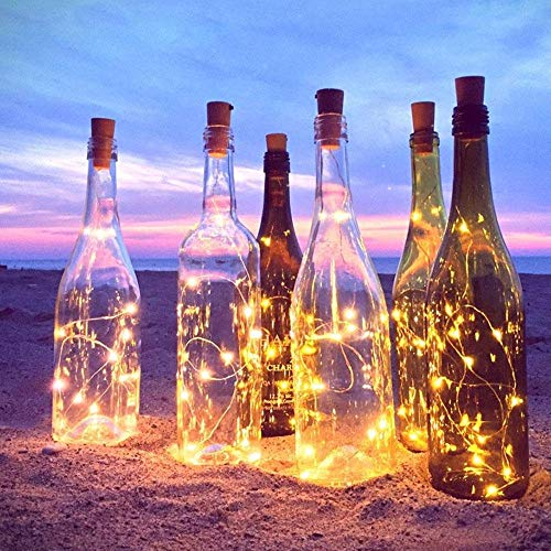 Teepao 6 Pc Flood Light Strip 20 LED Wine Bottles String Lights Fairy String 2m Copper Wire Battery Operated Lights for Bedroom Party Wedding Halloween Christmas Anniversary