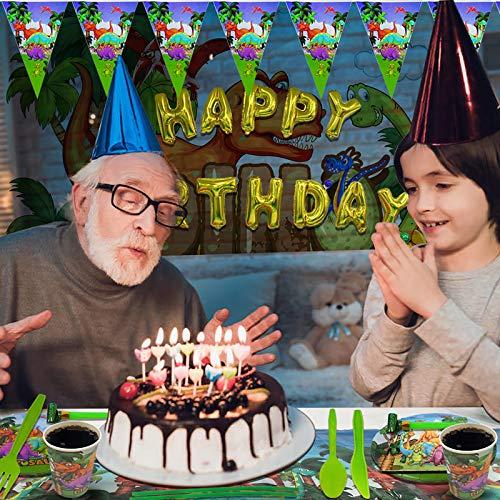 Motiloo Dinosaur Paper Plates,(Serves 10) Dinosaur Party Supplies Kids Birthday Baby Shower Dinosaur Birthday Packs Including Plates Napkins Cups Forks Spoons Tablecloth