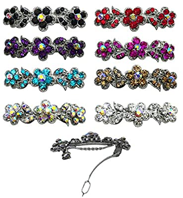 8-Pack - 8 Barrettes with French Clip Clasp and Sparkling Stones U86250-1338set of 8