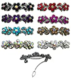8-Pack - 8 Barrettes with French Clip Clasp and Sparkling Stones U86250-1338-8