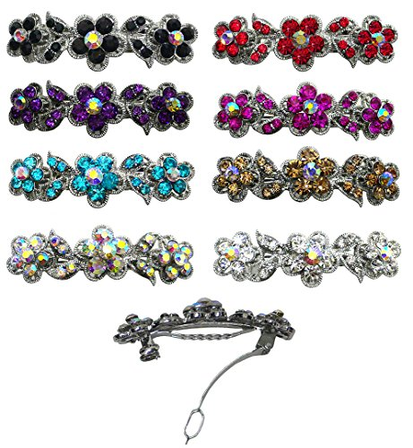 Jeweled Clasp - 8-Pack - 8 Barrettes with French Clip Clasp and Sparkling Stones U86250-1338-8