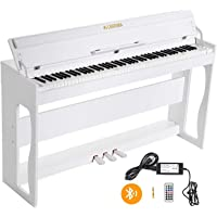 LAGRIMA LG-802 88-Key Beginner Digital Piano with Full-Size Weighted Keys | Muti-functional Piano with 3 Pedals and Bluetooth | Multi-tone Selection - White