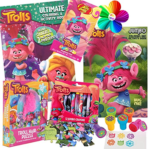 Halloween Activity Book Set - Dreamworks Trolls Coloring Book Toy Set by ColorBoxCrate -7 PACK - Includes Trolls Activity Books, Trolls Puzzle, Trolls Crayons, Trolls Stickers, Trolls Stampers, Trolls Candy for Children Ages 3-8