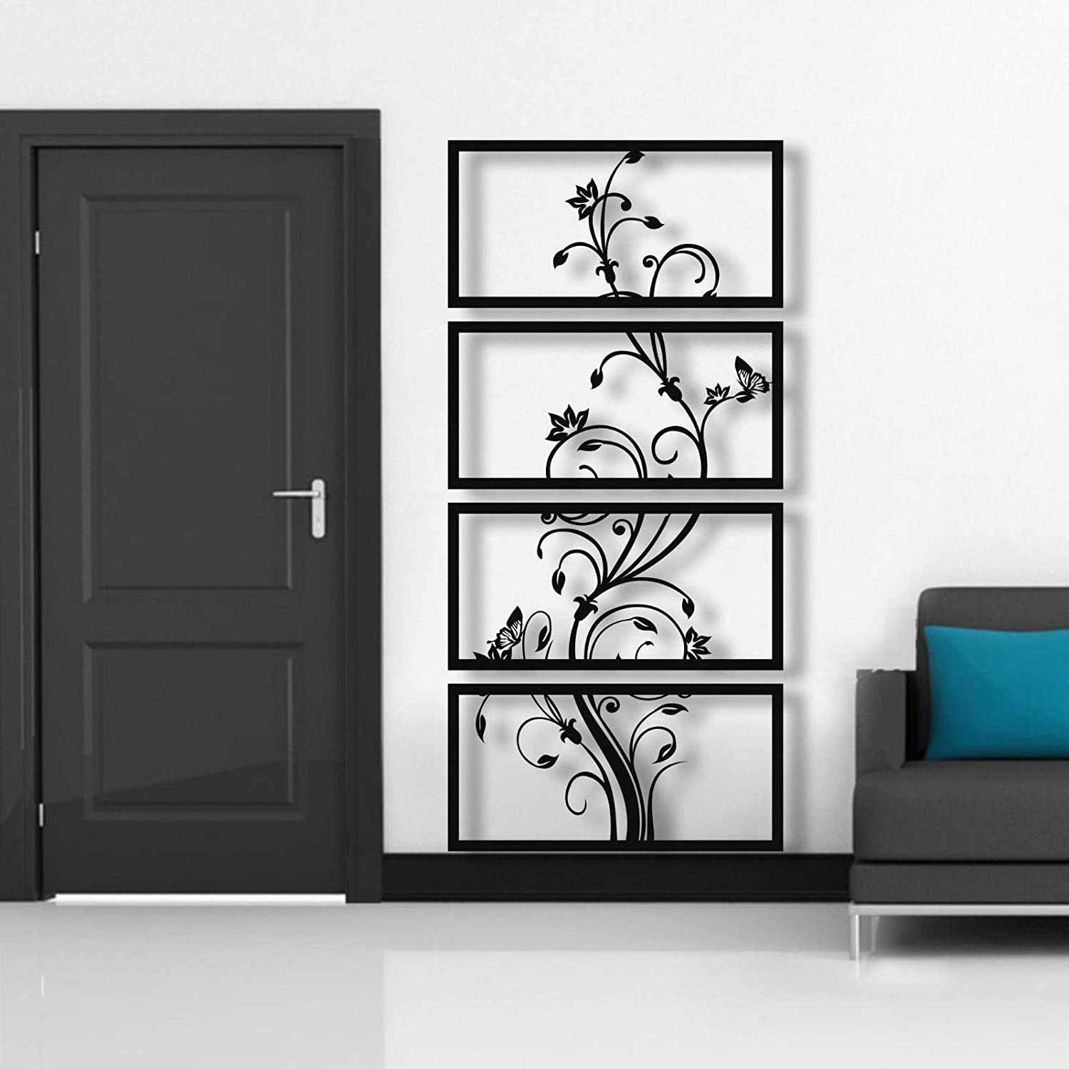 Metal Wall Art, 4 Panels Metal Wall Decor, Metal Flower Art, Interior Decoration, Housewarming Gift, 4 Pieces, Plant Tree Art, (30