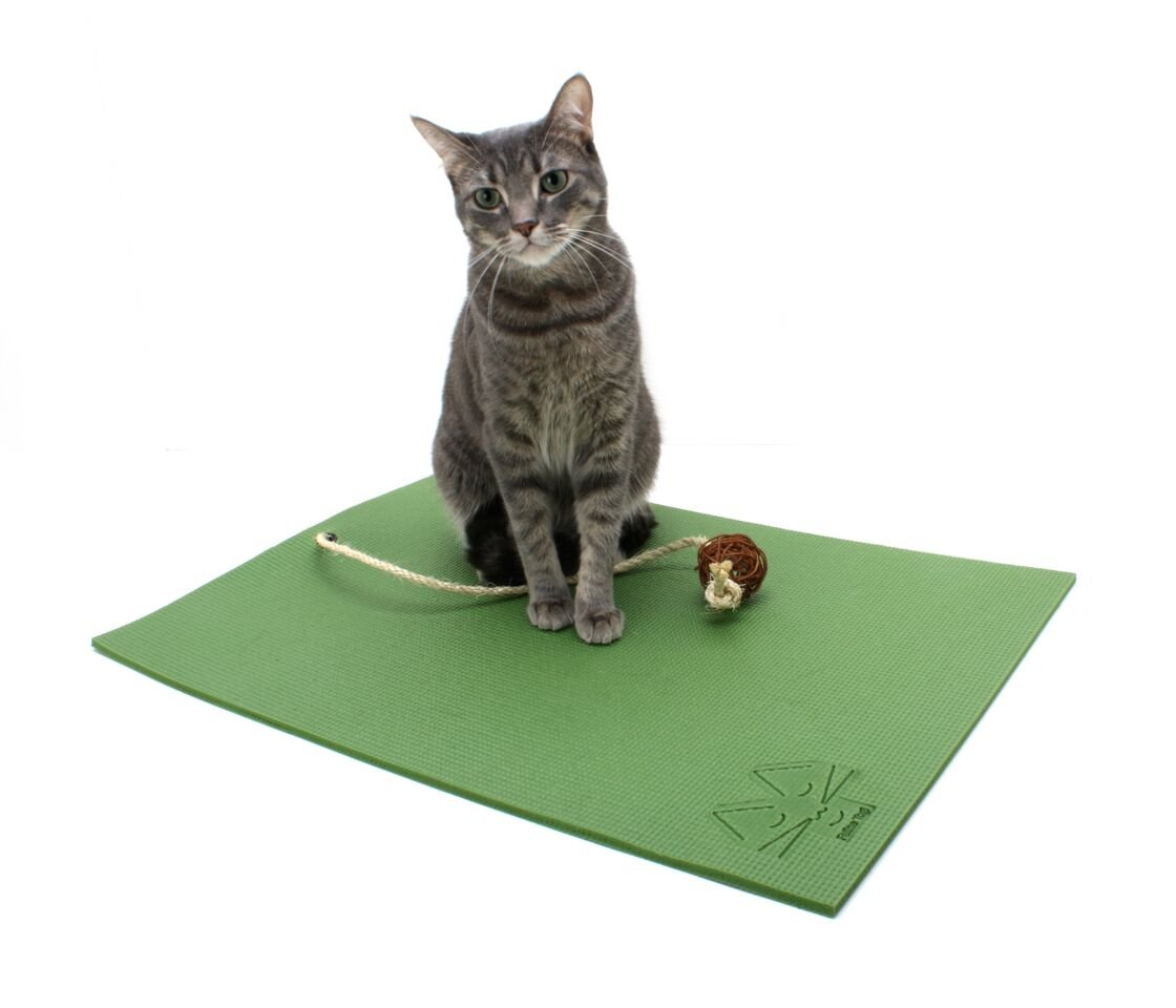 Feline Yogi Cat Mat with Catnip Cat Toy. Cat Scratching Post, Bed, Activity Play Mat (Green)