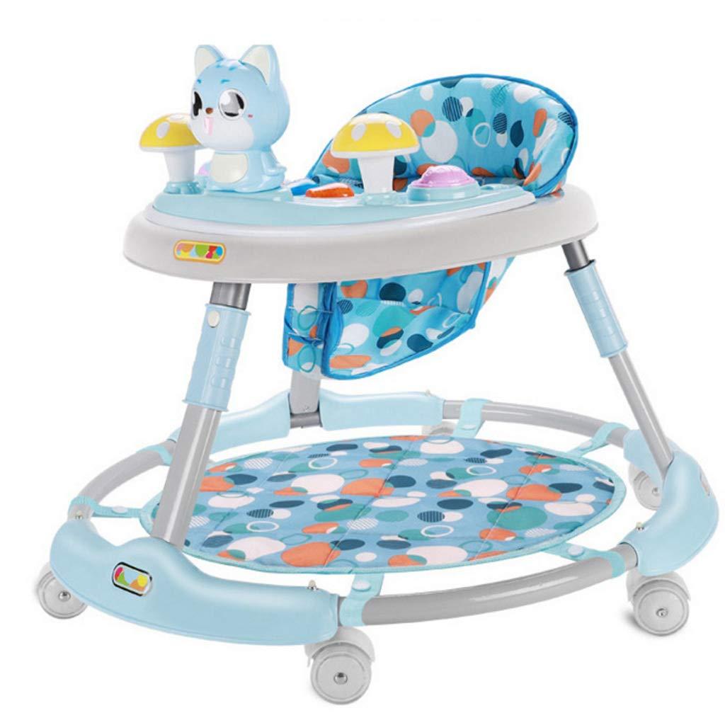 Meen Walker, Baby Baby Multi-Function Rollover Girl Boy Anti-o Leg Children Music Walker (Color : Blue)