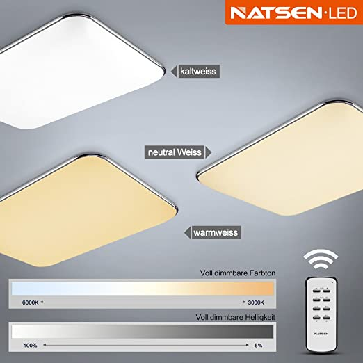 Natsen® LED Ceiling Light Modern ceiling lamp Fit Living room Silver ...
