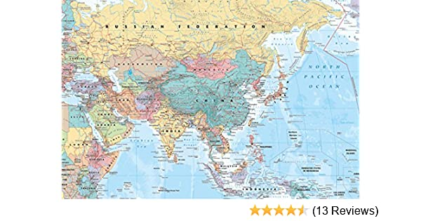 Middle East and Asia map Poster 36 x 24in