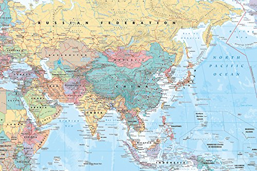 Middle East and Asia map Poster 36 x 24in (Map Of Europe Middle East And Asia)