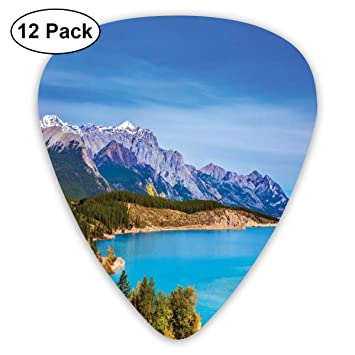 Guitar Picks 12-Pack,Rocky Mountains Canada Crystal Clear Abraham Lake Picturesque Nature Views Scene: Amazon.es: Instrumentos musicales