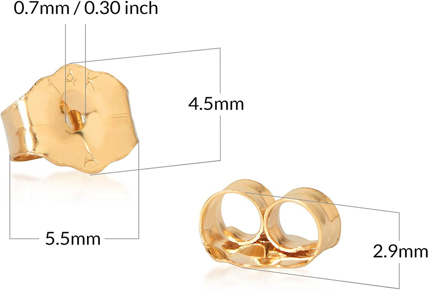 Olivias Collection 14k White or Yellow Gold Replacment Friction Push Back