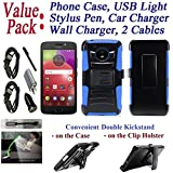 Value Pack Cables + for 5.5'' Motorola moto E4 + PLUS e4plus Case Phone Case Belt Clip Holster 2 Kick stand Hybrid Armor Shock Bumper Cover (Blue)