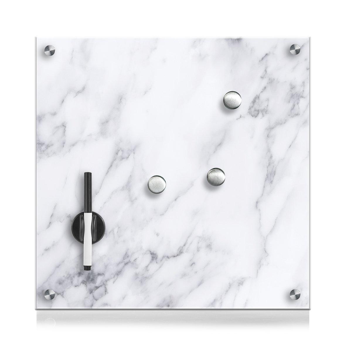 Zeller 11671Memo Board Marble Glass-40x 40x 1cm