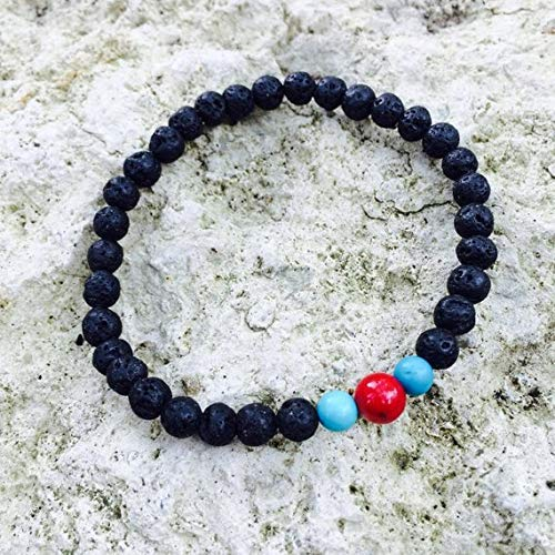 for Men, Black Stretch Bracelet with Turquoise and red Coral, Gift idea for Men 6-8mm by Gemswholesale ()