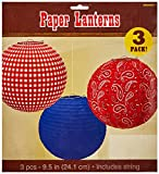 Amscan High Riding Western Party Printed Round Lanterns (3 Piece), Multicolor, 9 1/2''