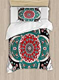 Ambesonne Arabian Duvet Cover Set Twin Size, Oriental Ornate Embriodery Style Floral Ethnic Illustration of Old Eastern Artistic, Decorative 2 Piece Bedding Set with 1 Pillow Sham, Multicolor