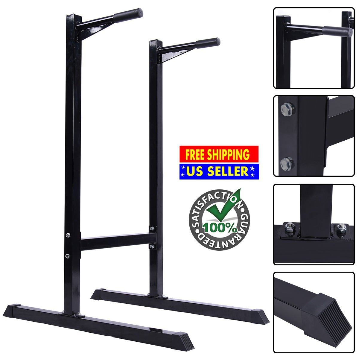 Dipping Station - Pull Up Push Up Chin Up Stand Workout Fitness Exercise Tower – Heavy Duty Vertical Knee Raise Bicep Triceps Arm Curl Bench Preacher Weight Free Standing Abdominal Bar Home Gym Black