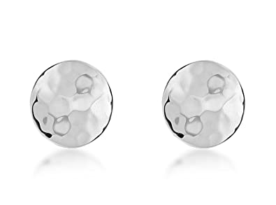 Tuscany Silver Sterling Silver Round Hammered Stud Earrings LzdysPkACI