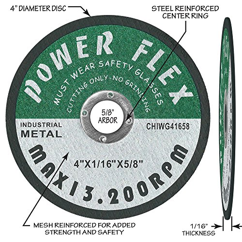 50 PACK - CUT OFF WHEELS 4'' x 1/16'' x 5/8'' For Cutting all Ferrous Metals and Stainless Steel. by OCM (Image #1)