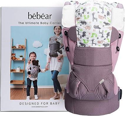 transpirables y suaves para beb/és y ni/ños peque/ños Bebamour Baby Carrier Sling 3 en 1 Mochila ergon/ómica para portabeb/és para beb/és reci/én nacidos Gris