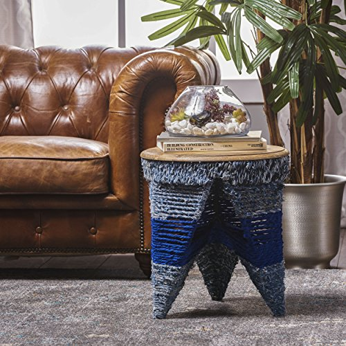 Alvin Multi-Blue Fabric End Table with Mango Wood Top - Deep Blue Mango Wood