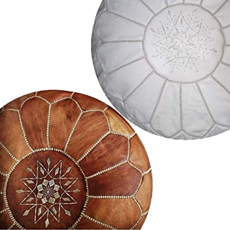 2 Moroccan pouf Yellow leather pouf and beige stitching  moroccan decor round ottoman pouf furniture floor pouf home decor moroccan pouf