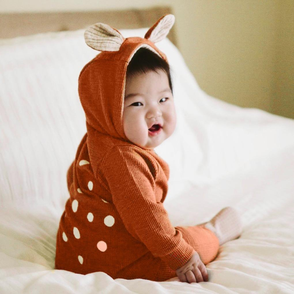 0-36 Months Deer Hooded Playsuit Cotton Blend Costume DETALLAN Baby Infant Toddler Unisex Romper Jumpsuit Bodysuit