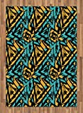 Grunge Area Rug by Ambesonne, Abstract Retro Street Art Pattern Underground Wall Paint Line Triangles, Flat Woven Accent Rug for Living Room Bedroom Dining Room, 5.2 x 7.5 FT, Turquoise Mustard Black