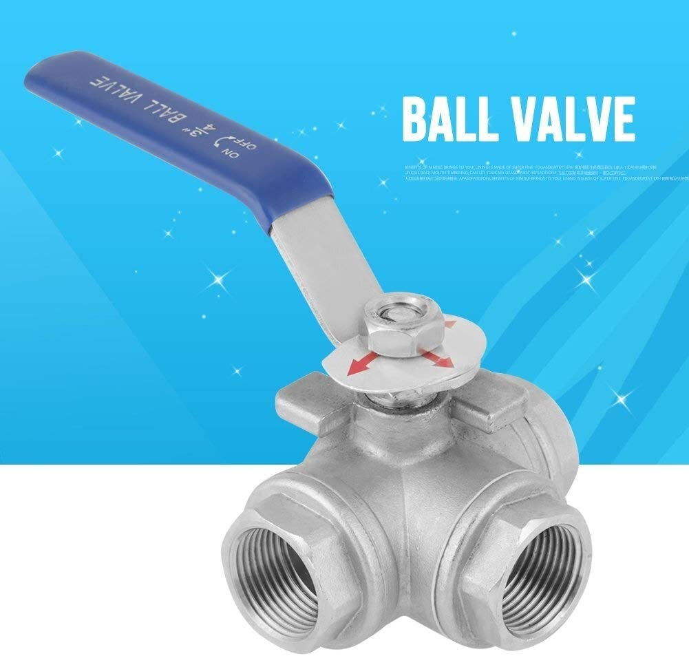 Three-Way T-Type Female Thread 3//4inch DN20 Stainless Steel Pipe Ball Valve for Water Oil Steam Yadianna Pipe Ball Valve