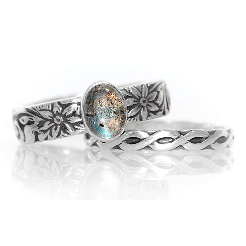 Gypsy Boho handmae natural fire labradorite ring Bridesmaid Solitaire Rainbow Labradorite Ring Bridal Sterling Silver 925