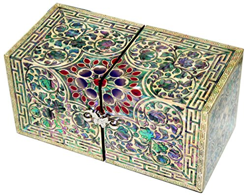 JMcore Mother of Pearl Arabesque Design Jewelry Box Nacre Jewellry Organizer by JMcore High Quality Jewelry Box