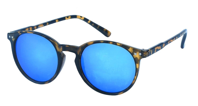 Chic-Net Sonnenbrille rund John Lennon Punkte Vintage Retro 400UV Schlüsselloch Steg türkis-gelb EaxN9C