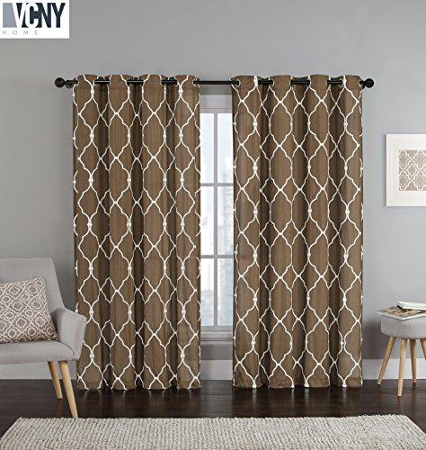 2 Pack: Devlin Quatrefoil Linen Weave Textured Quatrefoil Curtains by VCNY – Assorted Colors (Chocolate)