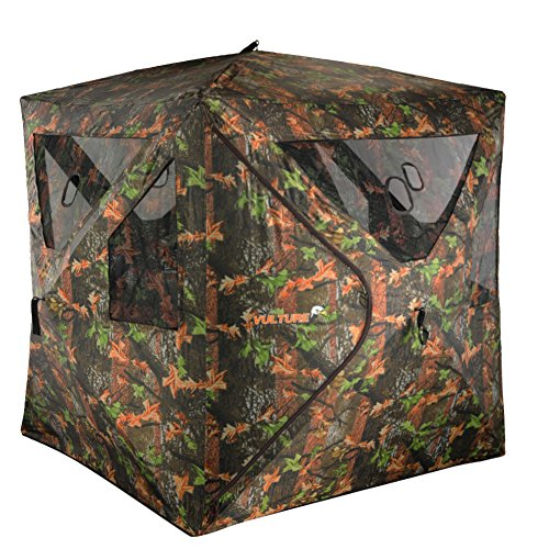 Vulture Ground Hunting Blind Camouflage Oxford Fabric Pop-up Portable 2 Person Blind 58″ X 58″ X 67″ Hunting Blind