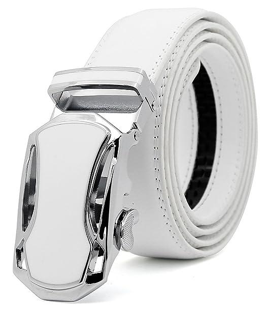 3ZHIYI Cinturón Cuero Cinturones Hebilla Automática,35mm,Blanco