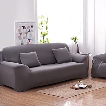 Buy Grey : 3 Seater Sofa Covers 7 Solid Colors Full Stretch ...