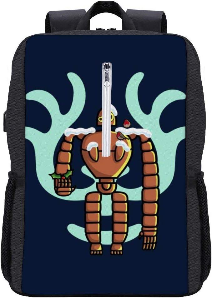 Robot Christmas Laputa Castle in The Sky Backpack Daypack Rucksack Laptop Shoulder Bag with USB Charging Port