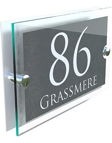 107374ae08b MODERN HOUSE SIGN PLAQUE DOOR NUMBER STREET GLASS EFFECT ACRYLIC ALUMINIUM  NAME PARA5-28WA-