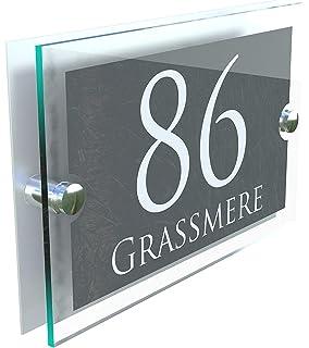 2fb3112ac34c MODERN HOUSE SIGN PLAQUE DOOR NUMBER STREET GLASS EFFECT ACRYLIC ALUMINIUM…