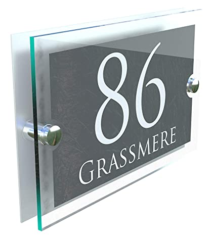 MODERN HOUSE SIGN PLAQUE DOOR NUMBER STREET GLASS EFFECT ACRYLIC ALUMINIUM  NAME PARA5-28WA-SC