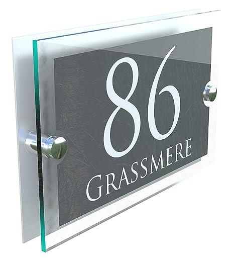 9de29f5b13d4 MODERN HOUSE SIGN PLAQUE DOOR NUMBER STREET GLASS EFFECT ACRYLIC ALUMINIUM  NAME PARA5-28WA-