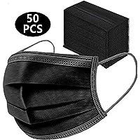 Wudi 50pcs -3ply Protección de Nariz y Boca, Embalaje higiénico Adecuado para Oficina, Exterior(Nero)