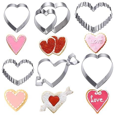 OUNONA 6 moldes de galletas de acero inoxidable 304 con forma de corazón para el día